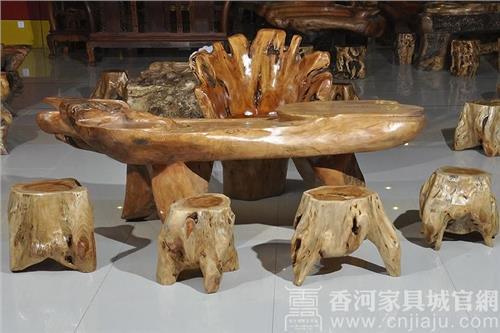 香河家具城樟木根雕茶几图片欣赏