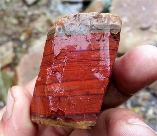 河里捡的红石头 这是什么石头?我在里捡到的石头 请问高