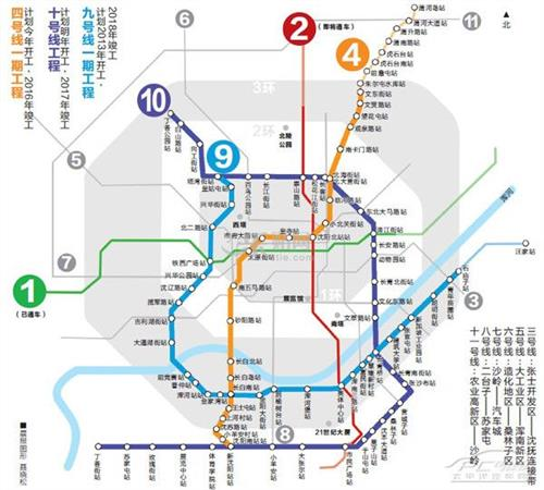 石家庄地铁1号线2号线3号线456号线路规划图