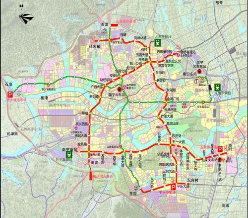 南宁地铁一号线线路图 南宁地铁3号线线路图 23个站点分布及守旧工夫