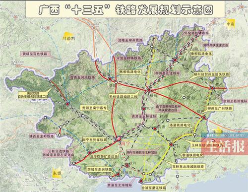 """河池市都安县高铁规划图_广西玉林高铁规划 广西铁路建设""""十三五""""规划:2020年""""市市通 ..."""