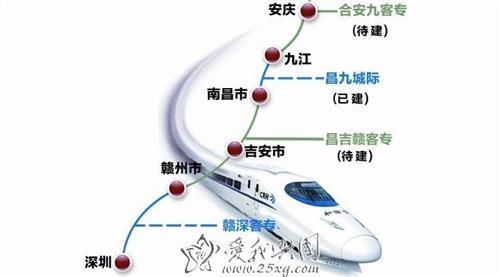 赣州铁路最新规划图 江西赣州段高铁线路示意图 江西赣州高铁规划最新消息!