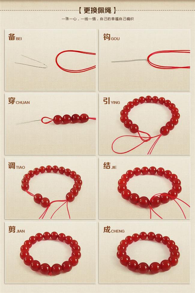 佛珠佛头编绳打结图解 佛珠手串弹力线打结方法(图解)